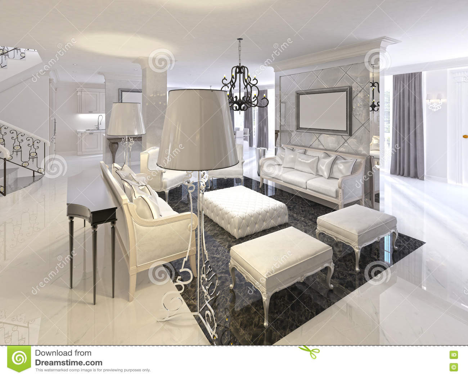 Download Art Deco Living Room Design With White Furniture Black Console.  Stock Illustration   Illustration