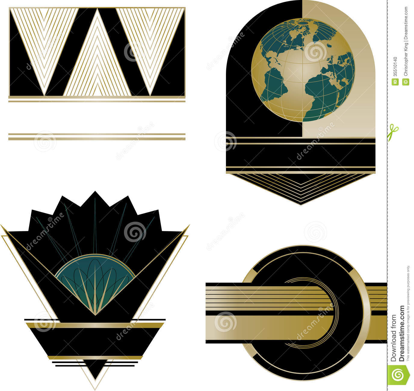Art deco logos and design elements stock vector for Deco 5 elements