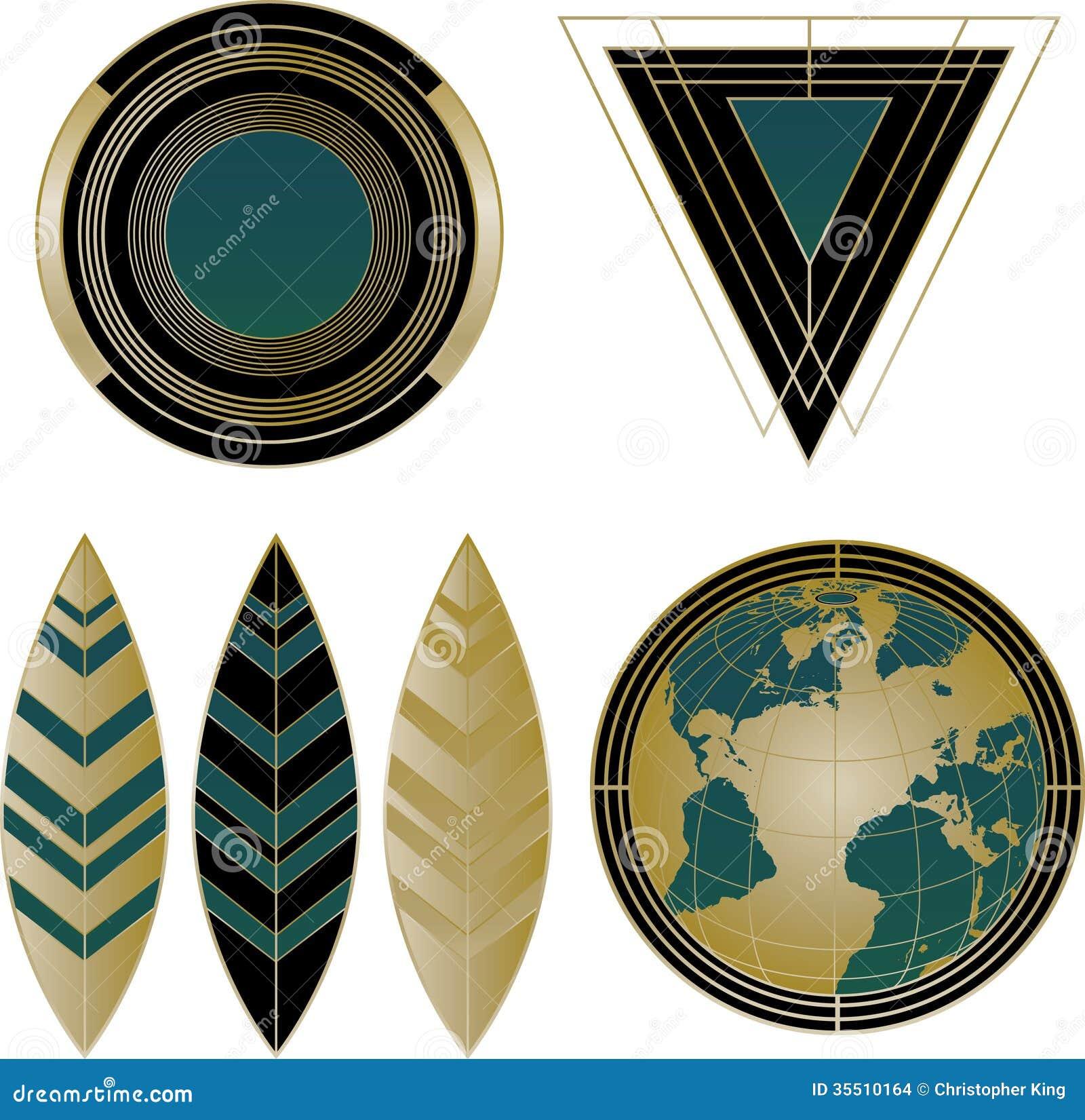 art deco logos and design elements stock images image 35510164. Black Bedroom Furniture Sets. Home Design Ideas