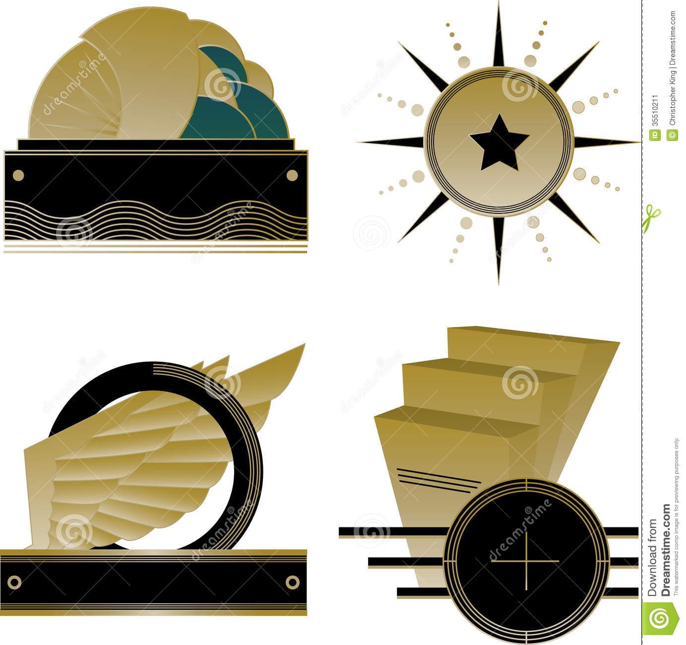 Art deco logos and design elements stock image image for Deco 5 elements