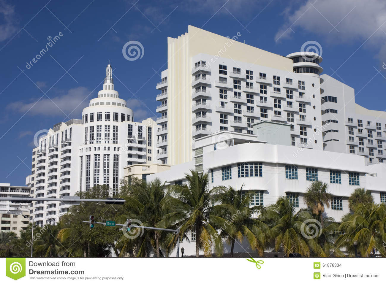 Art Deco Modern Buildings In Miami Beach Stock Photo Image Of Palm