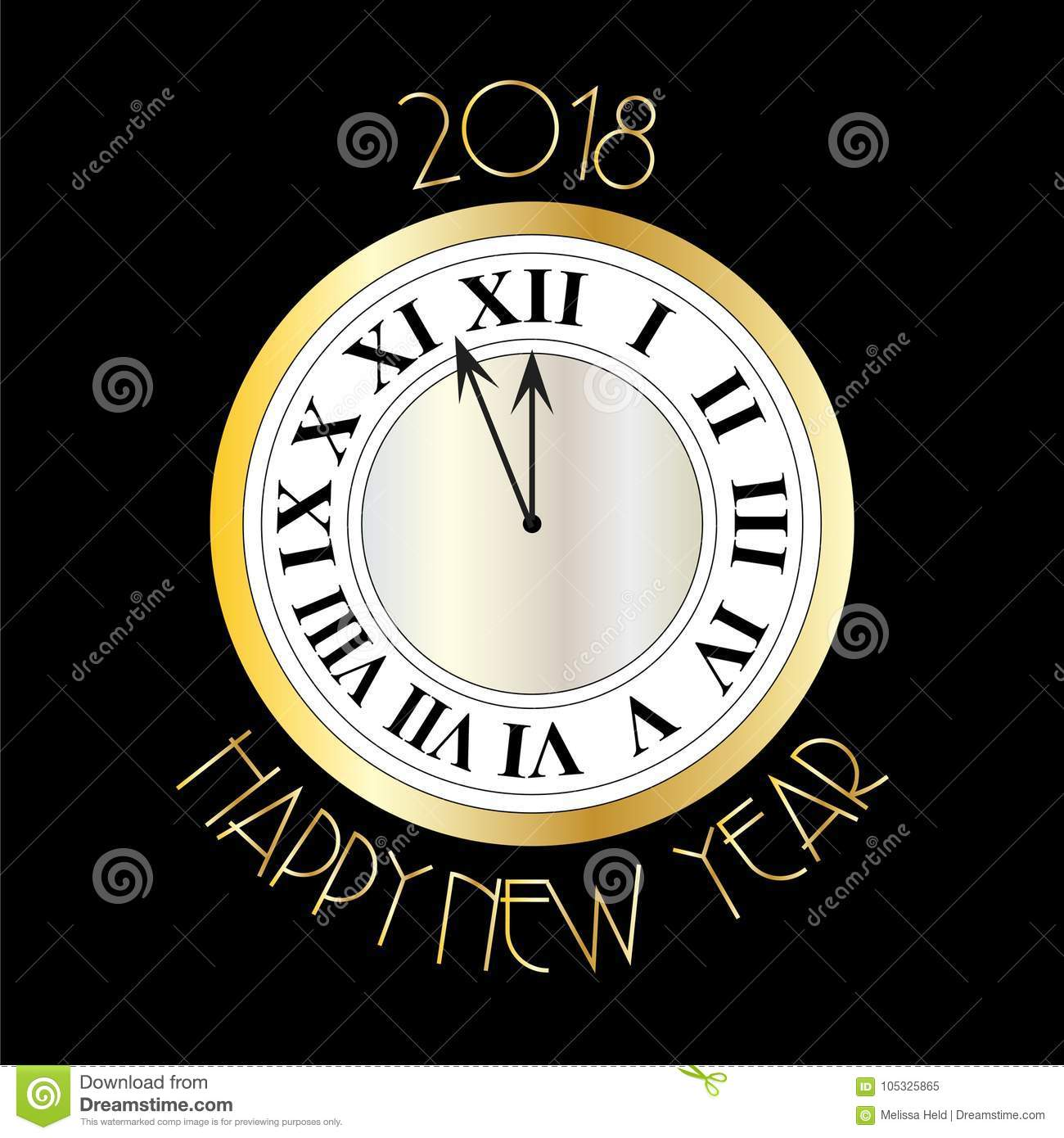new years eve silver gold clock on black