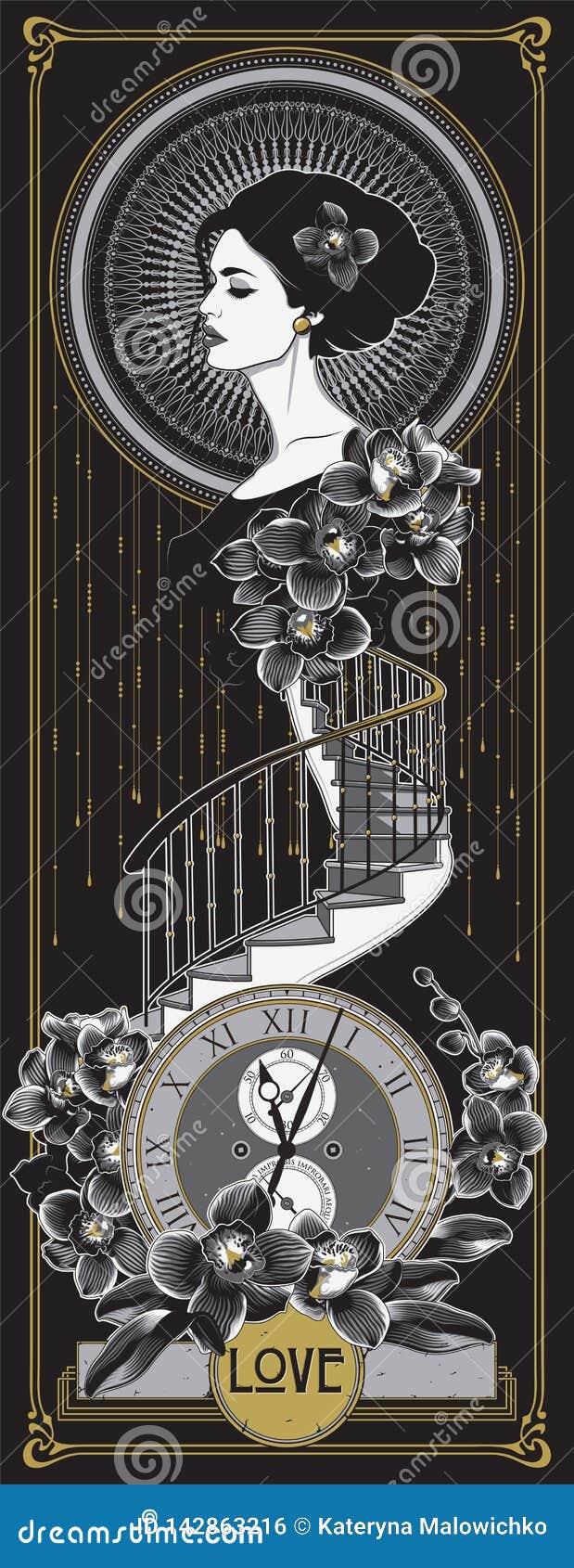 Art Deco, Art Nouveau Style Poster
