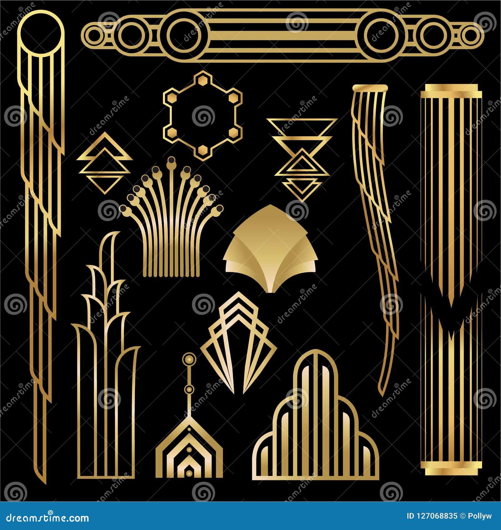 Art Deco Art Nuevo Geometric Elements Frames Triangles Circles