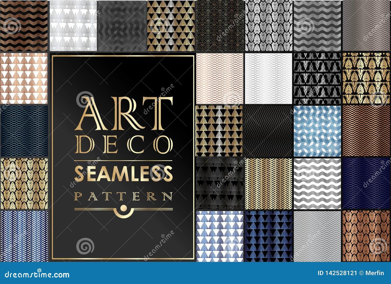 Art Deco Patterns Set Fundos dourados O fã escala ornamento Papéis digitais decorativos geométricos Linha projeto do vetor