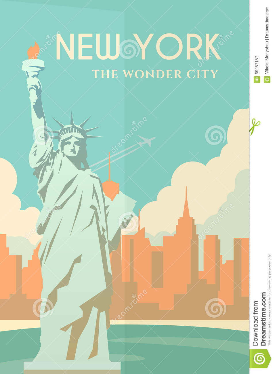 Poster design new york - Cityscape Design Flat Poster