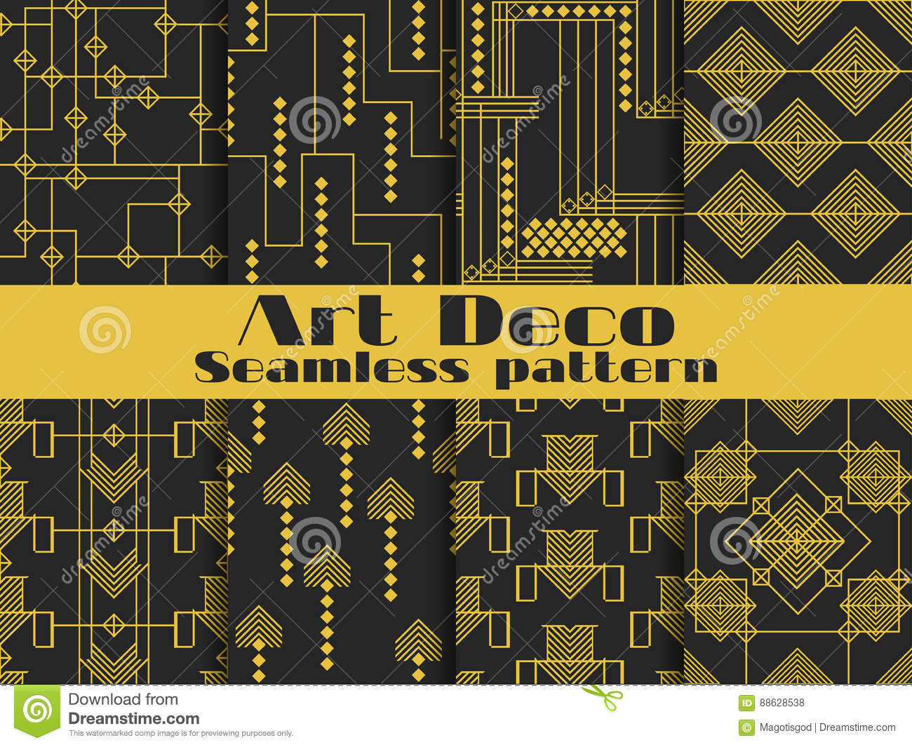 Art deco seamless pattern set retro backgrounds gold and for Style retro deco