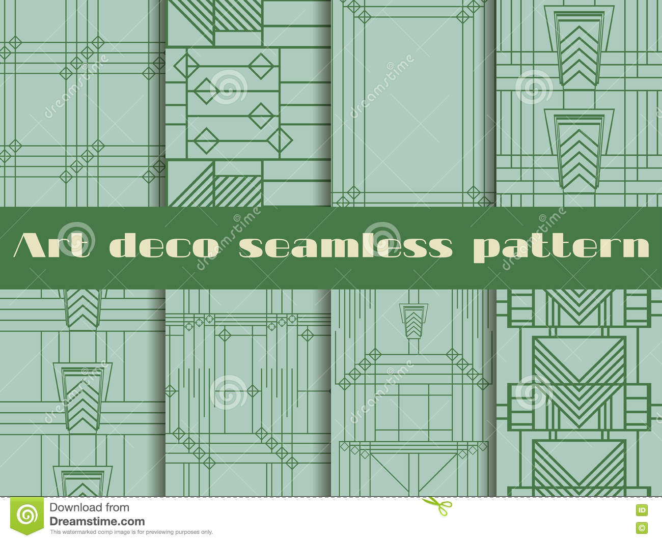 Art deco seamless patterns. The pattern of lines and geometric shapes. Style 1920 s, 1930 s. Vector illustration.