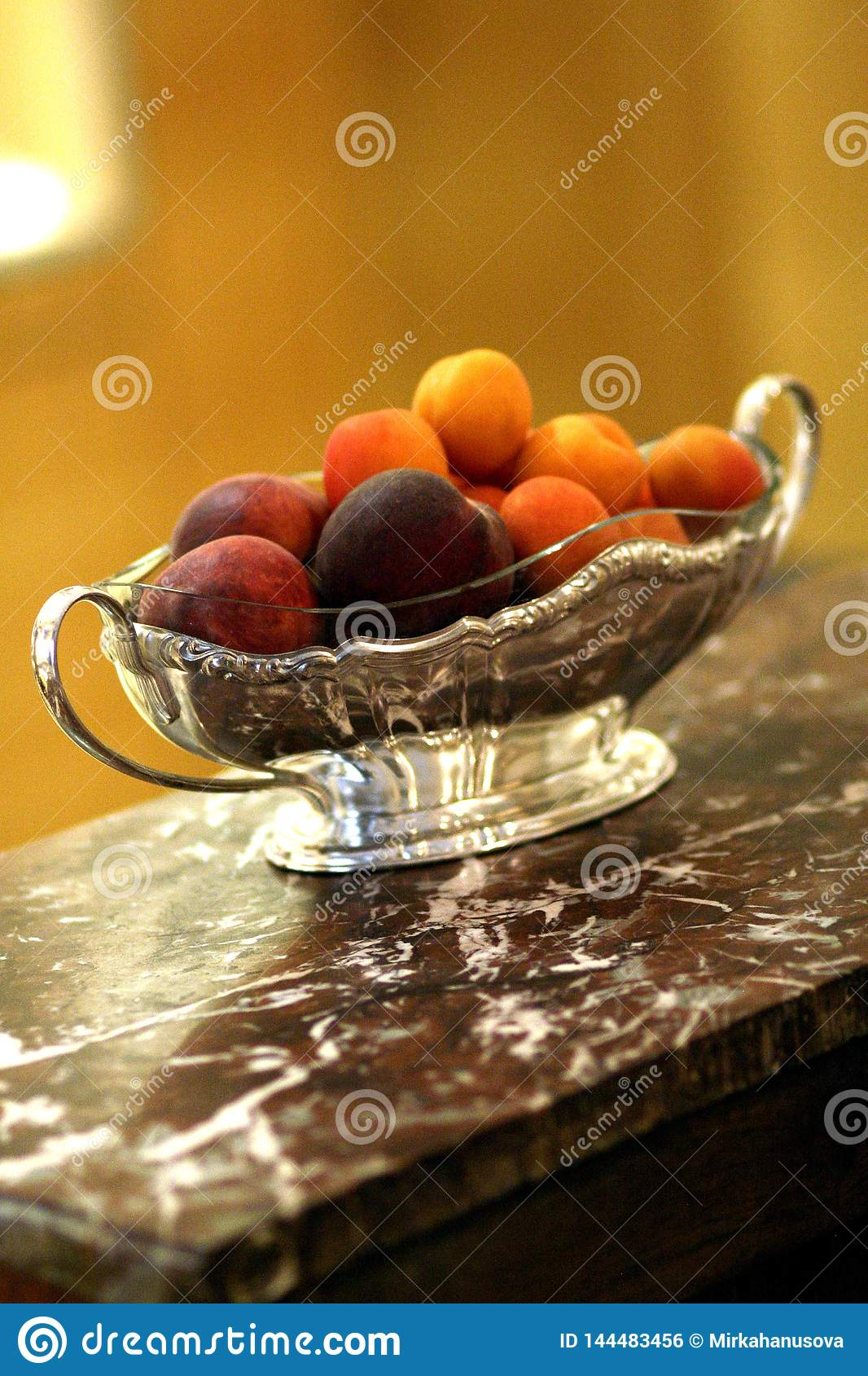 Antique Silver Bowl With Fruit On Dark Red Marble Desk Stock Photo Image Of Czech Decor 144483456