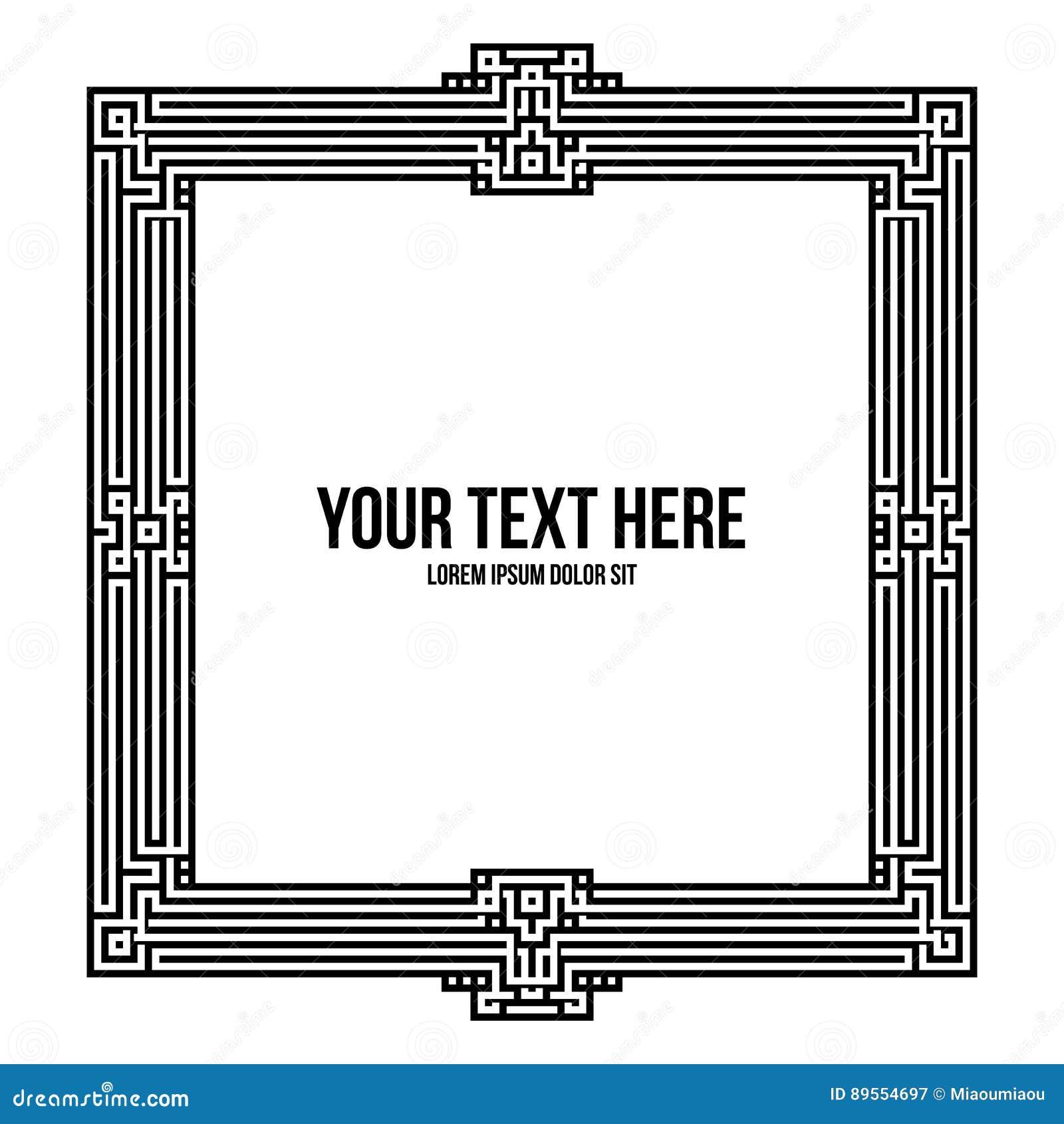 art deco square frame with native american elements stock vector illustration 89554697. Black Bedroom Furniture Sets. Home Design Ideas