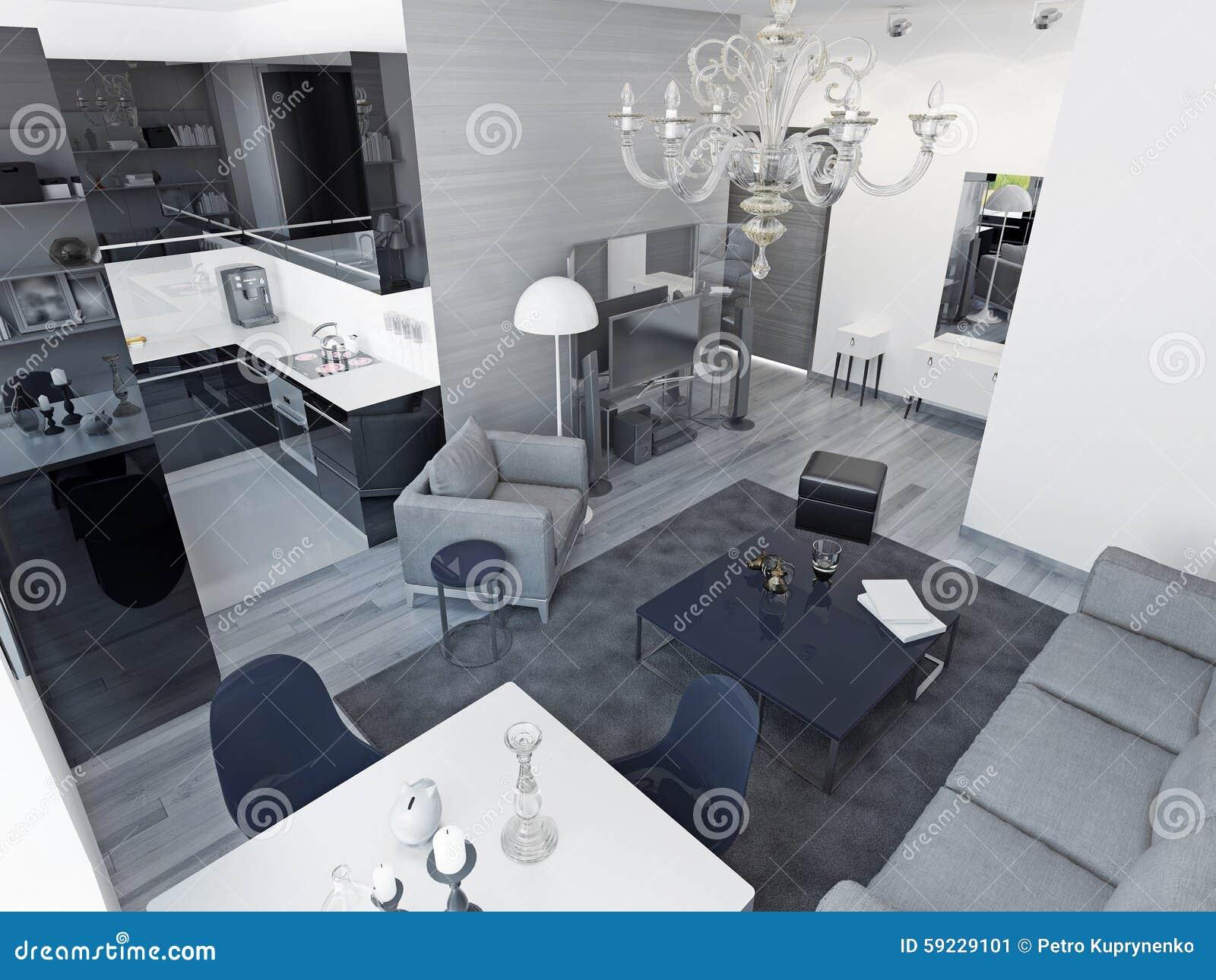 Art deco studio apartments stock illustration. illustration of