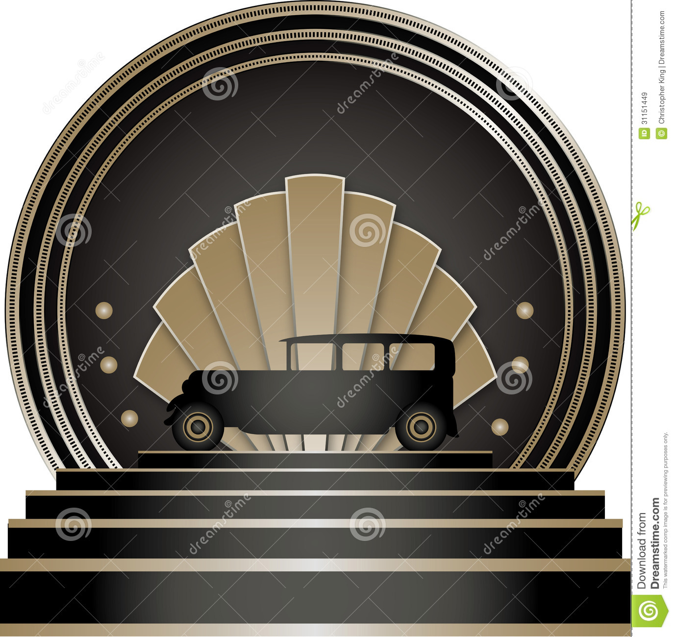 Art Deco Stye Badge with a motoring theme and isolated against a white ...