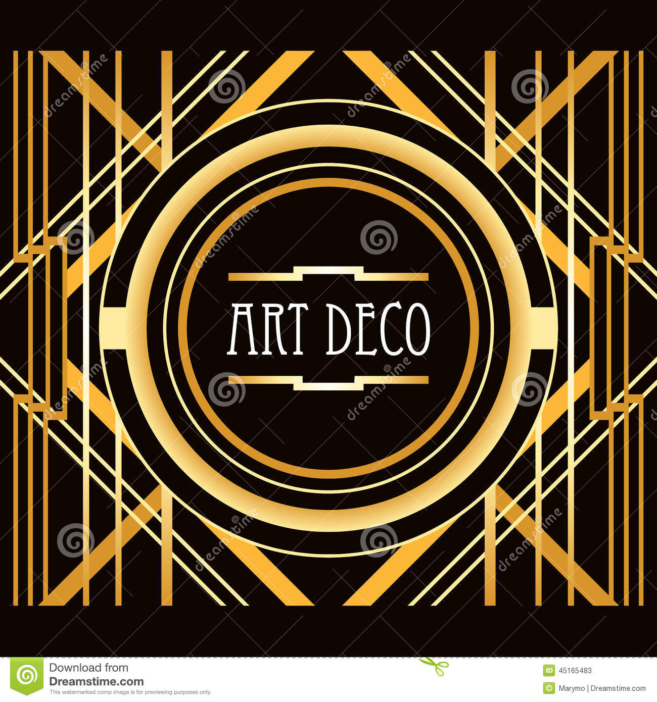Art Deco Style Abstract Geometric Frame Stock Vector Illustration