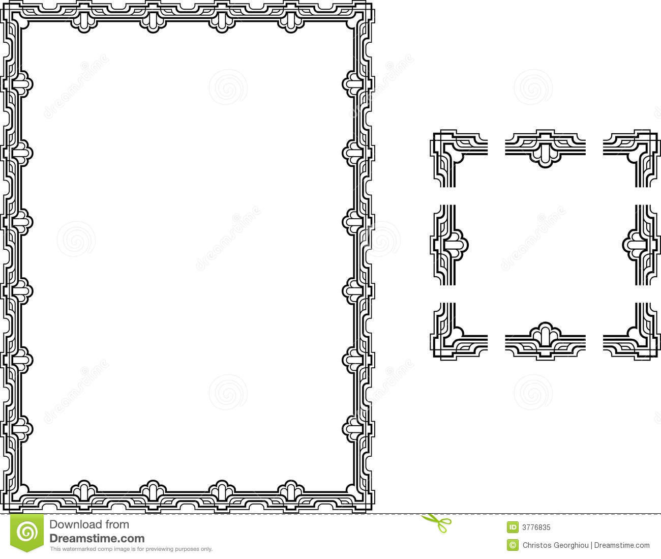 Art Deco Style Border Frame Stock Vector Illustration Of Component