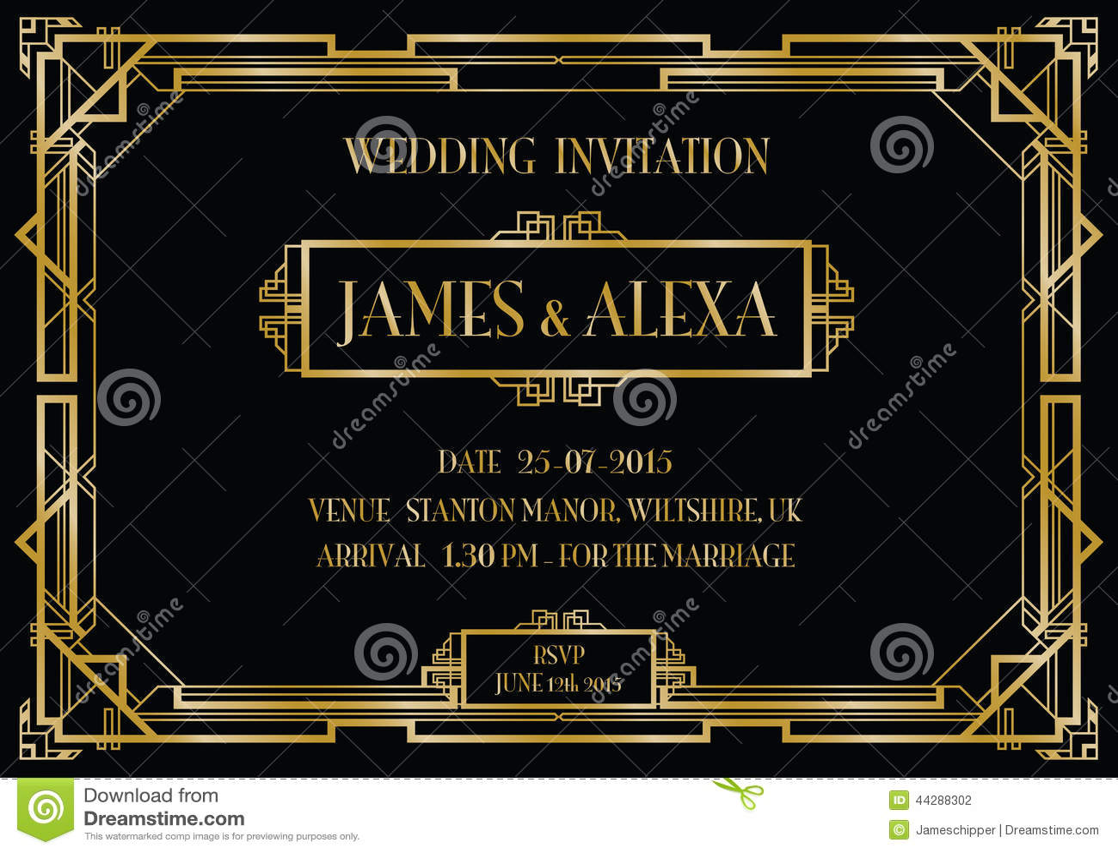 art deco style invitation card stock vector illustration of