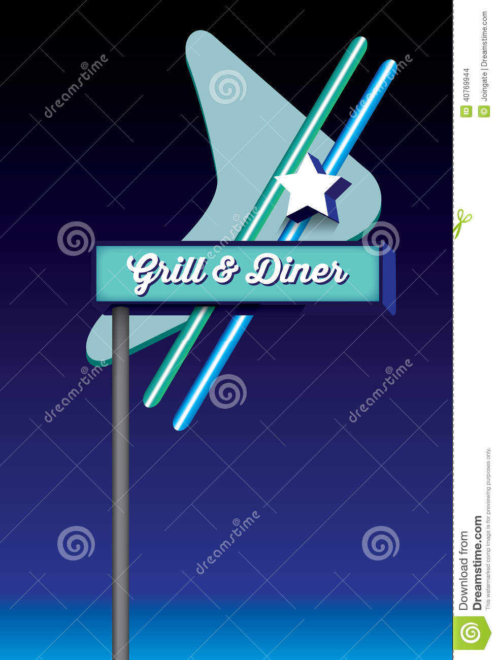Art deco style retro vintage diner signage stock vector for Style retro deco