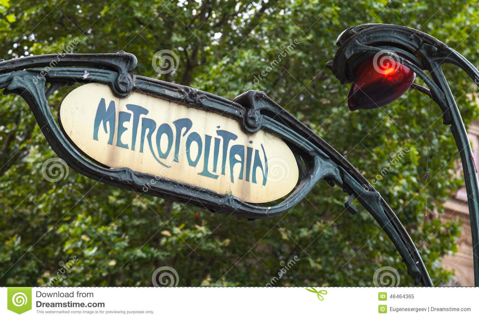 Plaque Metro Parisien Deco red paris metro subway sign street lamp stock photos
