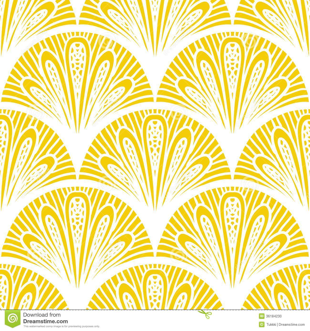 Art Deco Vector Geometric Pattern In Bright Yellow Stock Vector ...