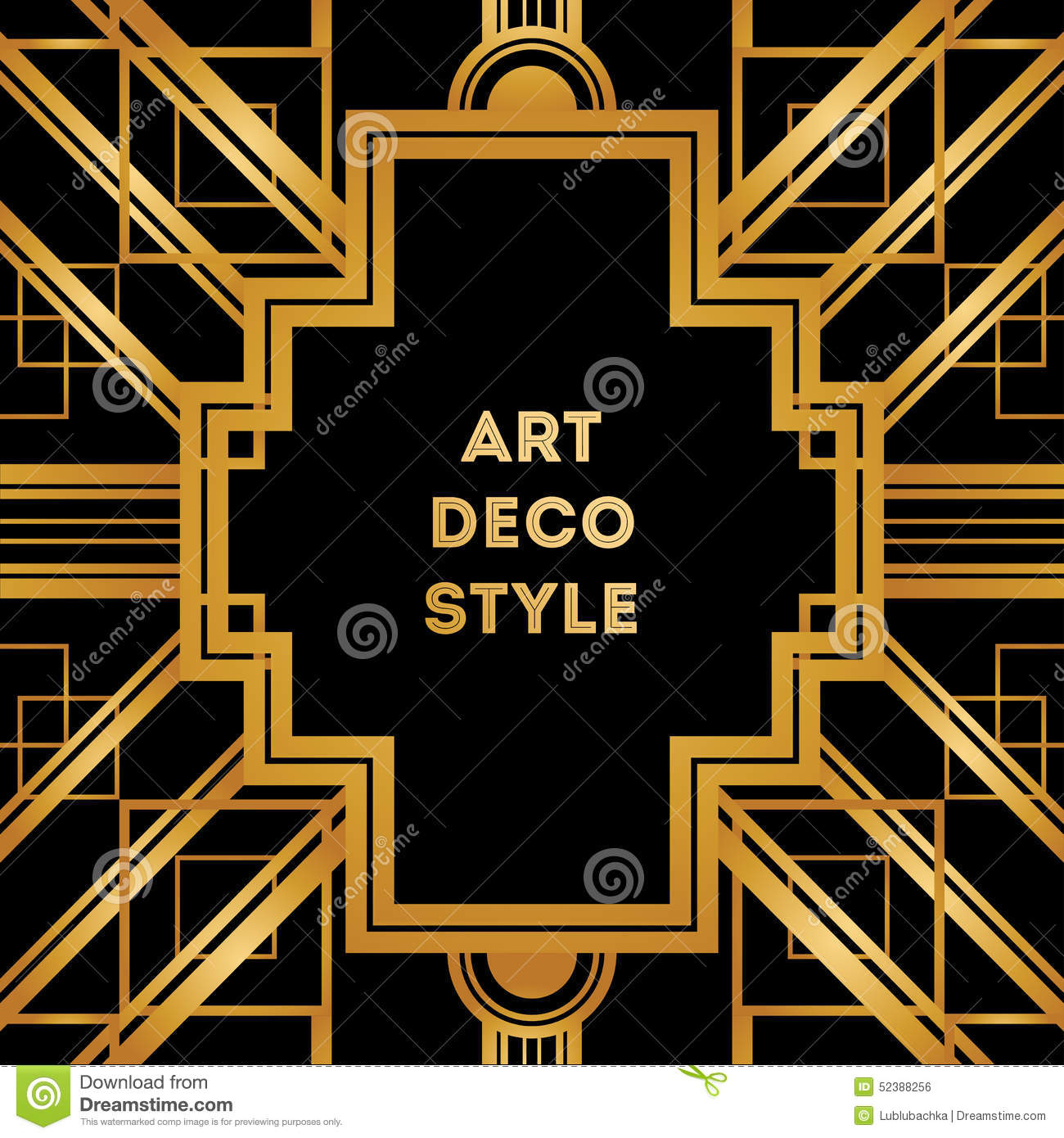 art deco vintage decorative frame retro card design template stock vector image 52388256. Black Bedroom Furniture Sets. Home Design Ideas