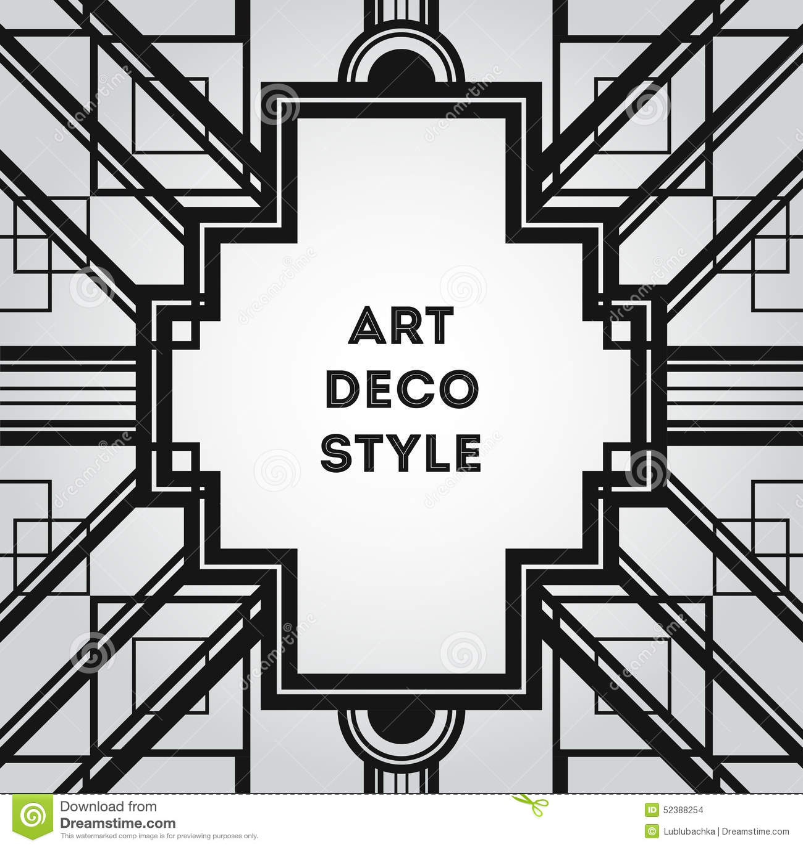 Art Deco Vintage Decorative Frame. Retro Card Design Vector Temp ...