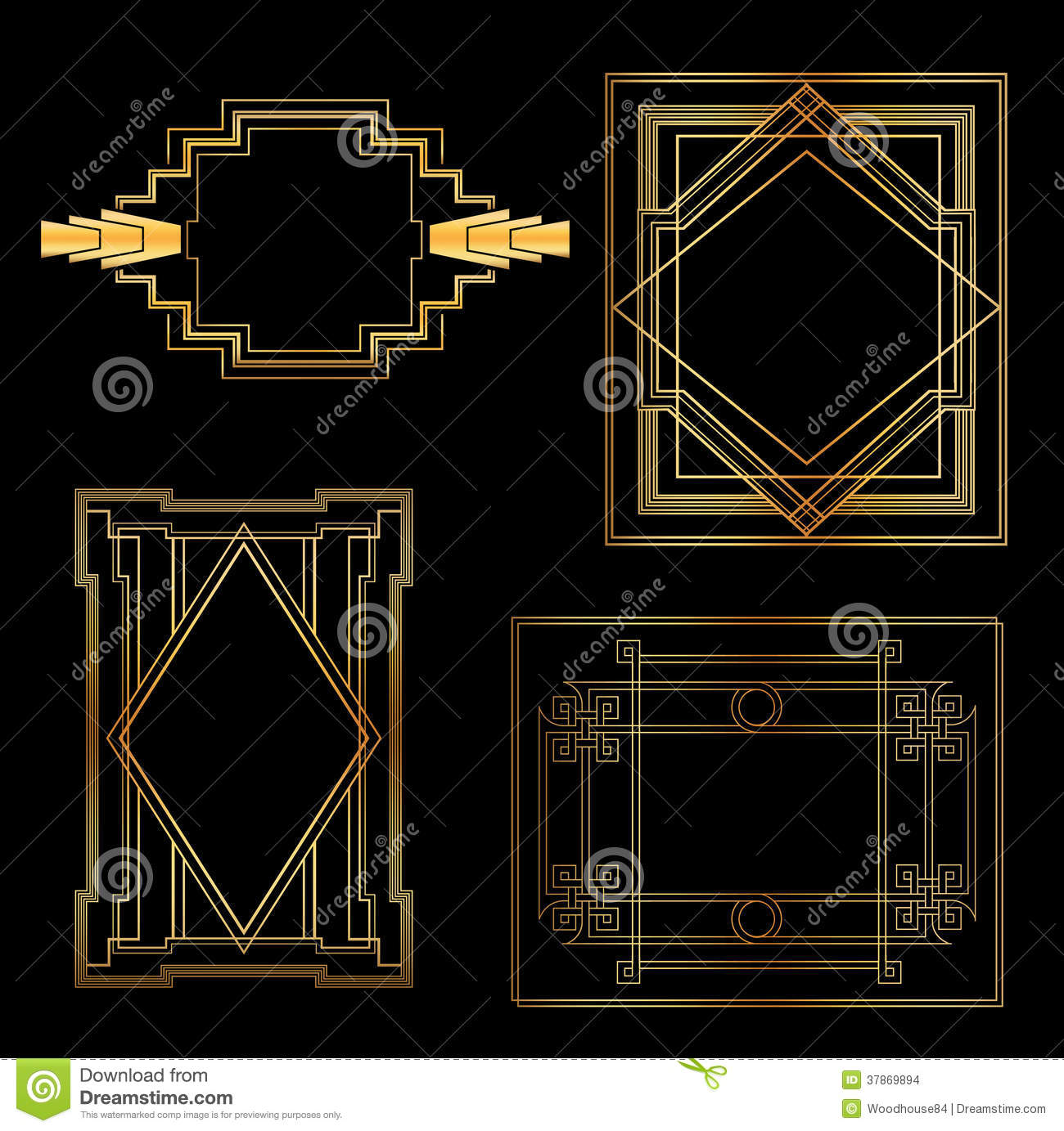 art deco vintage frames stock vector image of banner. Black Bedroom Furniture Sets. Home Design Ideas
