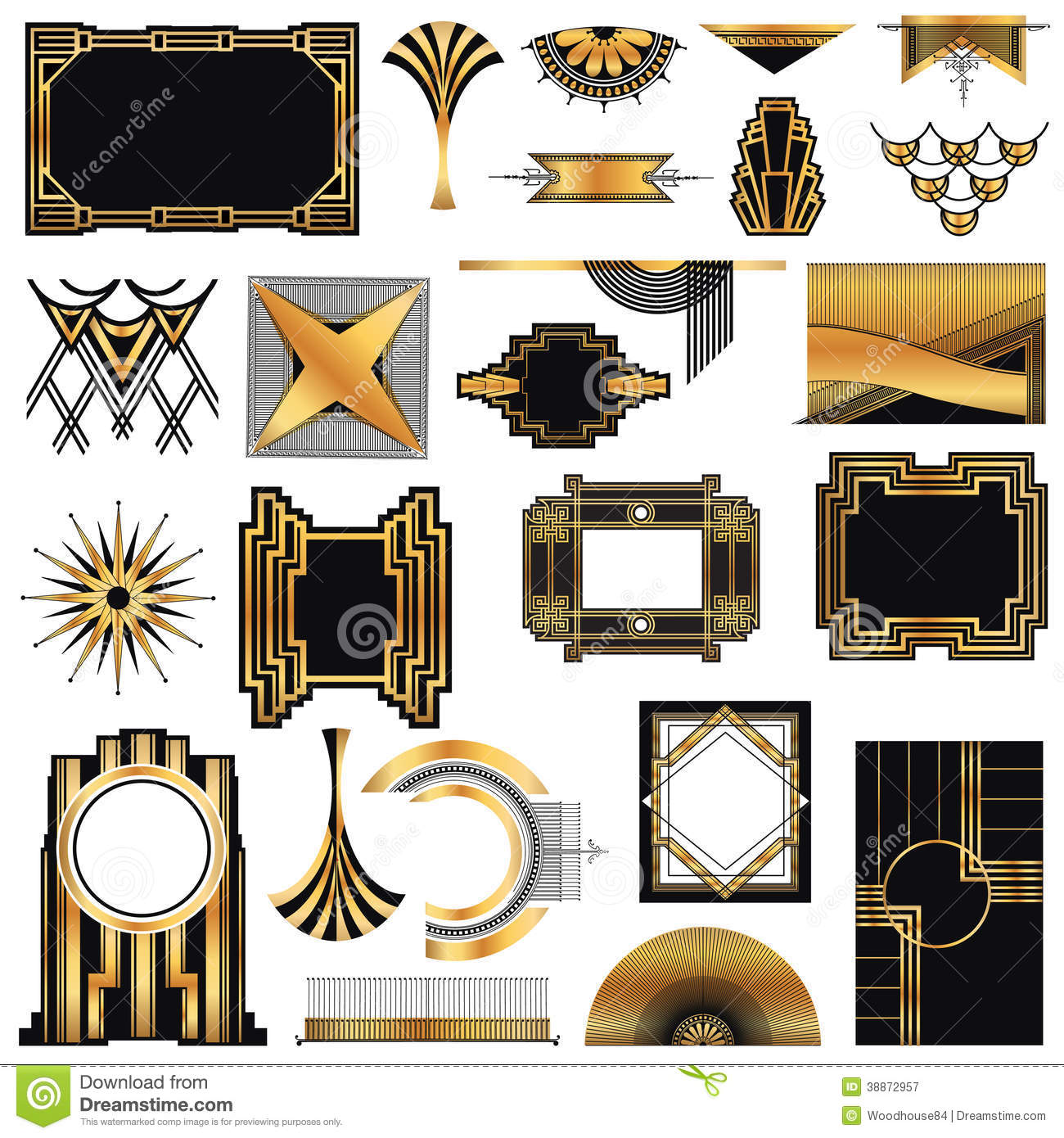 art deco vintage frames stock vector illustration of creative 38872957. Black Bedroom Furniture Sets. Home Design Ideas