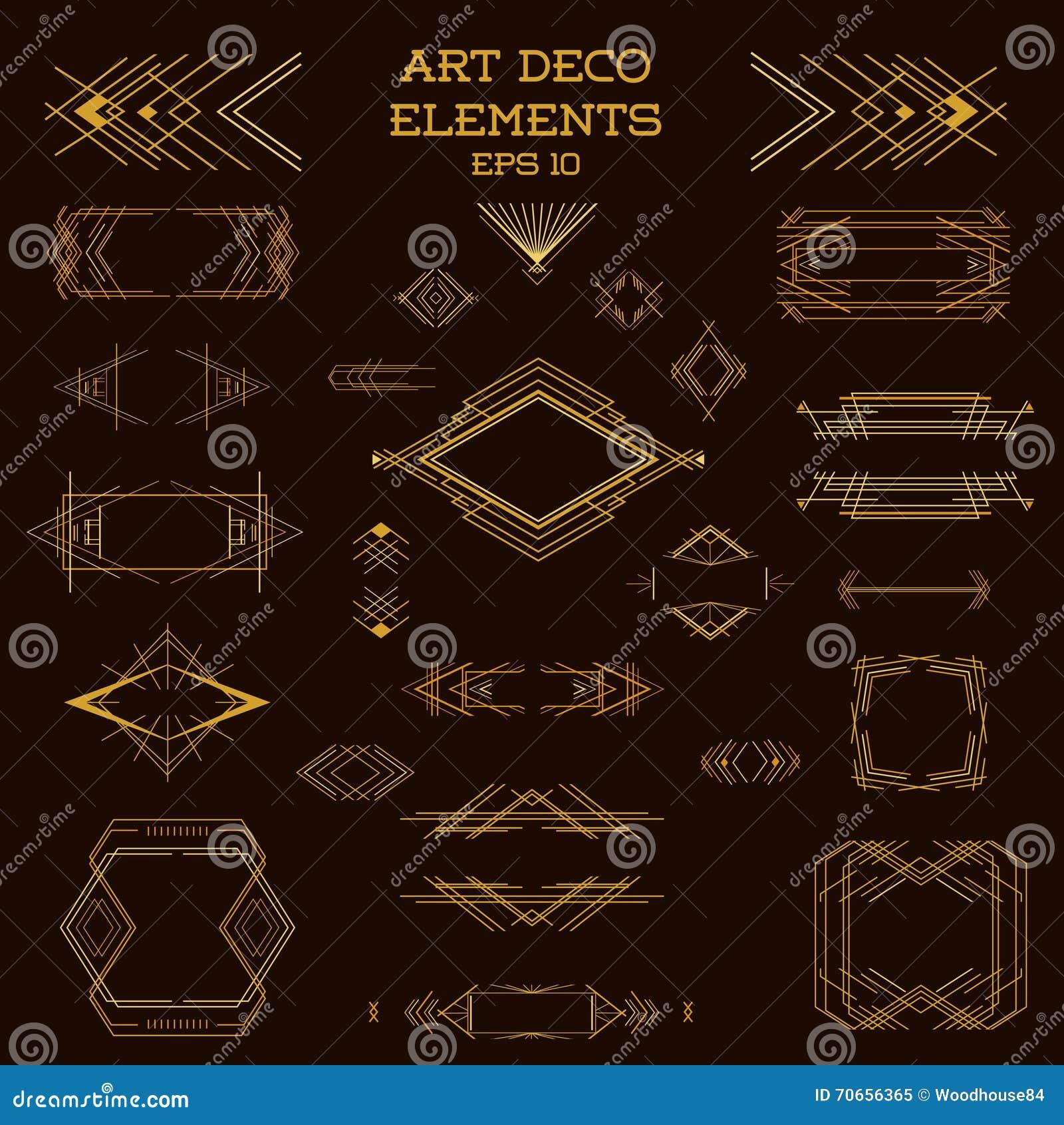 art deco vintage frames and design elements vector illustration 70656502. Black Bedroom Furniture Sets. Home Design Ideas