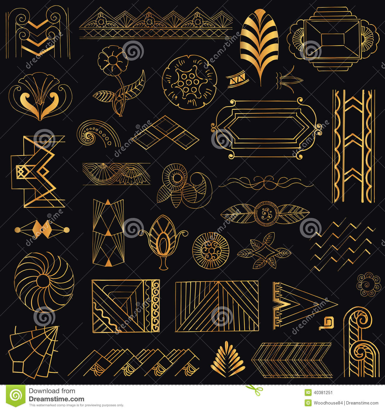 Art deco vintage frames and elements stock vector image for Deco 5 elements