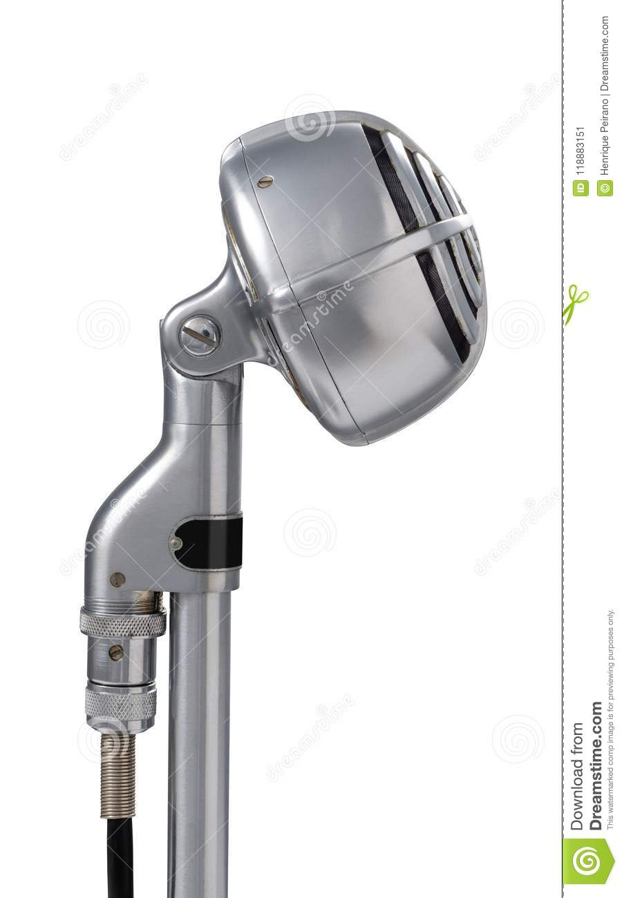 Art Deco Vintage Microphone On White Background Stock Image