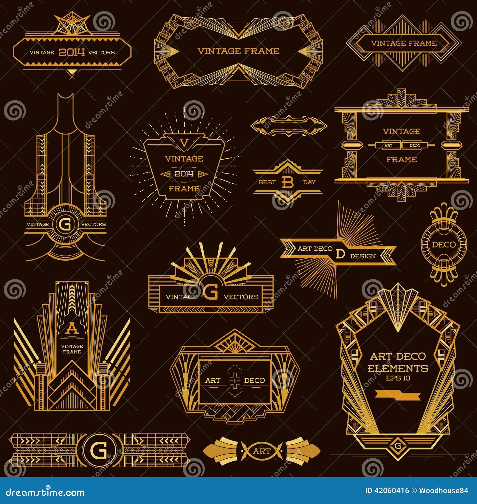 Art Deco Vintage-Rahmen vektor abbildung. Illustration von ...