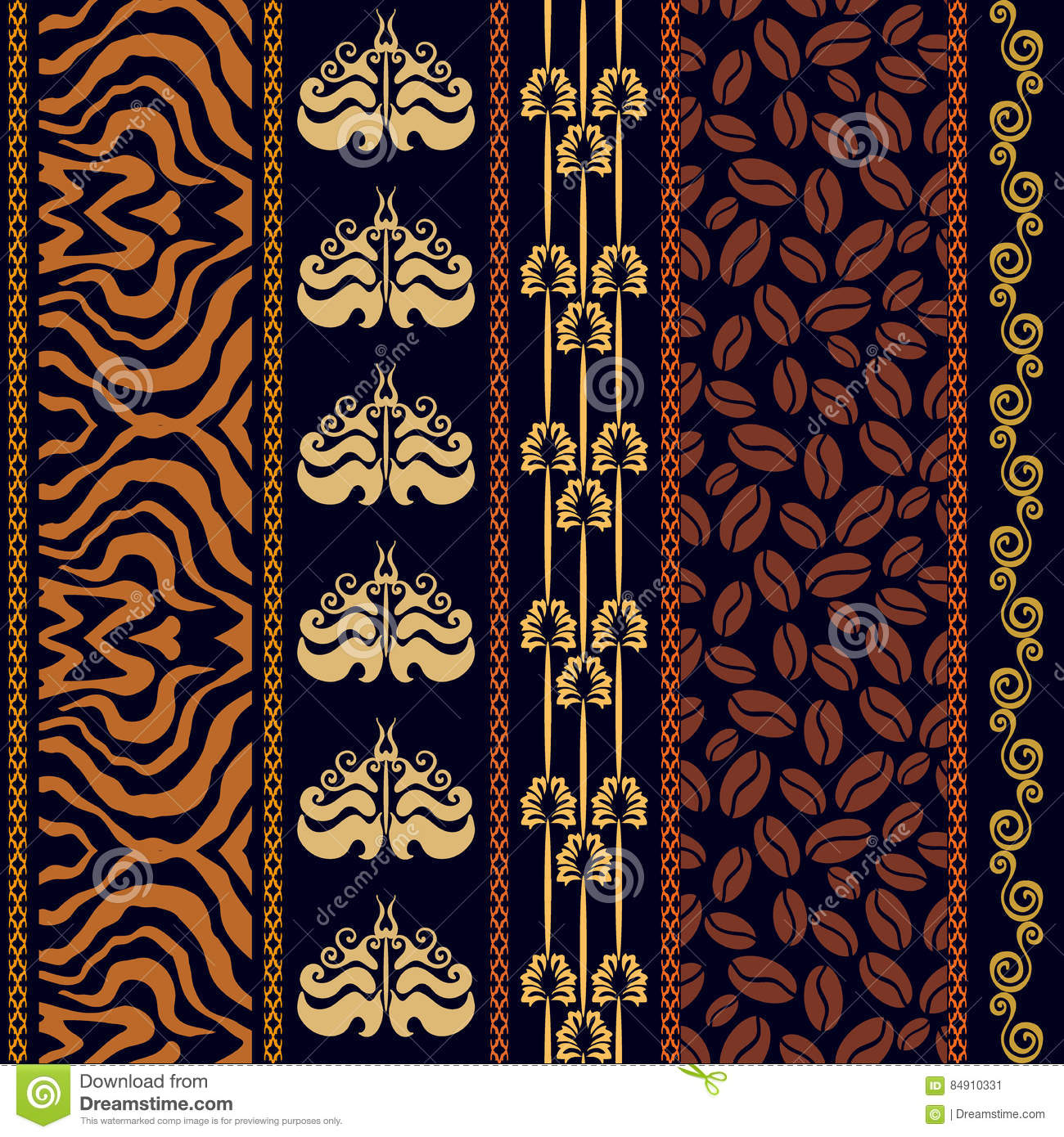 art deco vintage silk wallpaper with ethnic motifs and bohemian elements stock vector. Black Bedroom Furniture Sets. Home Design Ideas