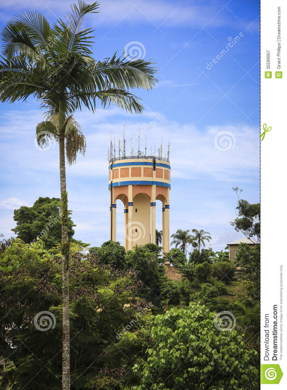 art deco water tower stock image  image of palm  tower