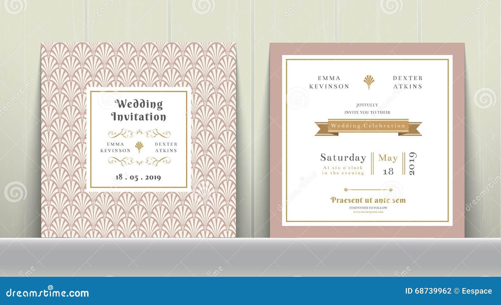 Art deco wedding invitation card no ouro e no rosa ilustrao do download art deco wedding invitation card no ouro e no rosa ilustrao do vetor ilustrao stopboris Choice Image