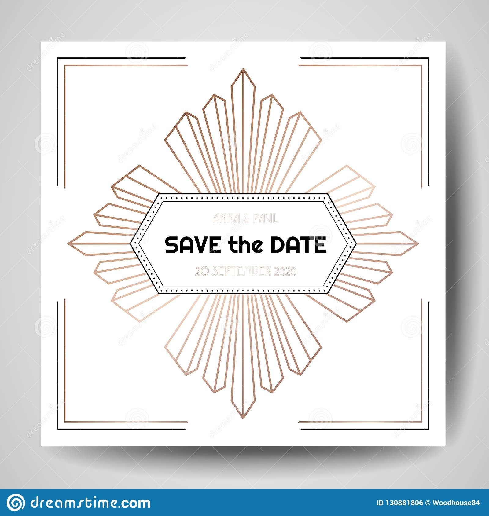 Art Deco Wedding Invitation Luxury Save The Date Card With Gold Geometric Frame Vector Trendy Cover Graphic Poster Gatsby 1920 Brochure Design Template: 1920s Wedding Invitation Clip Art At Reisefeber.org