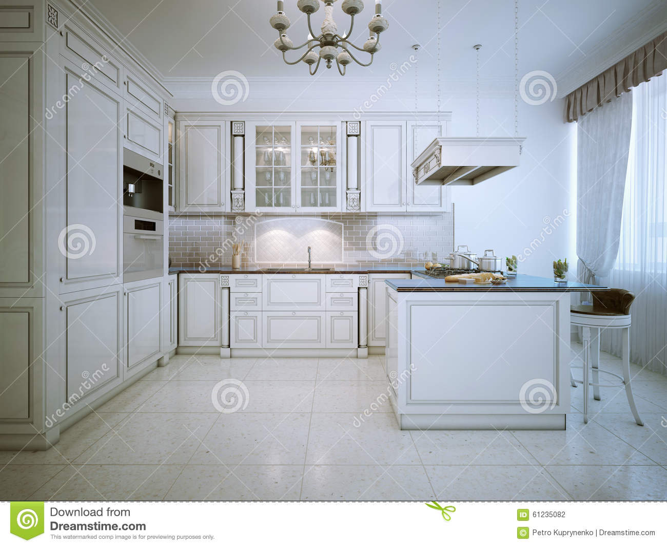 Art Deco White Kitchen Interior Stock Illustration