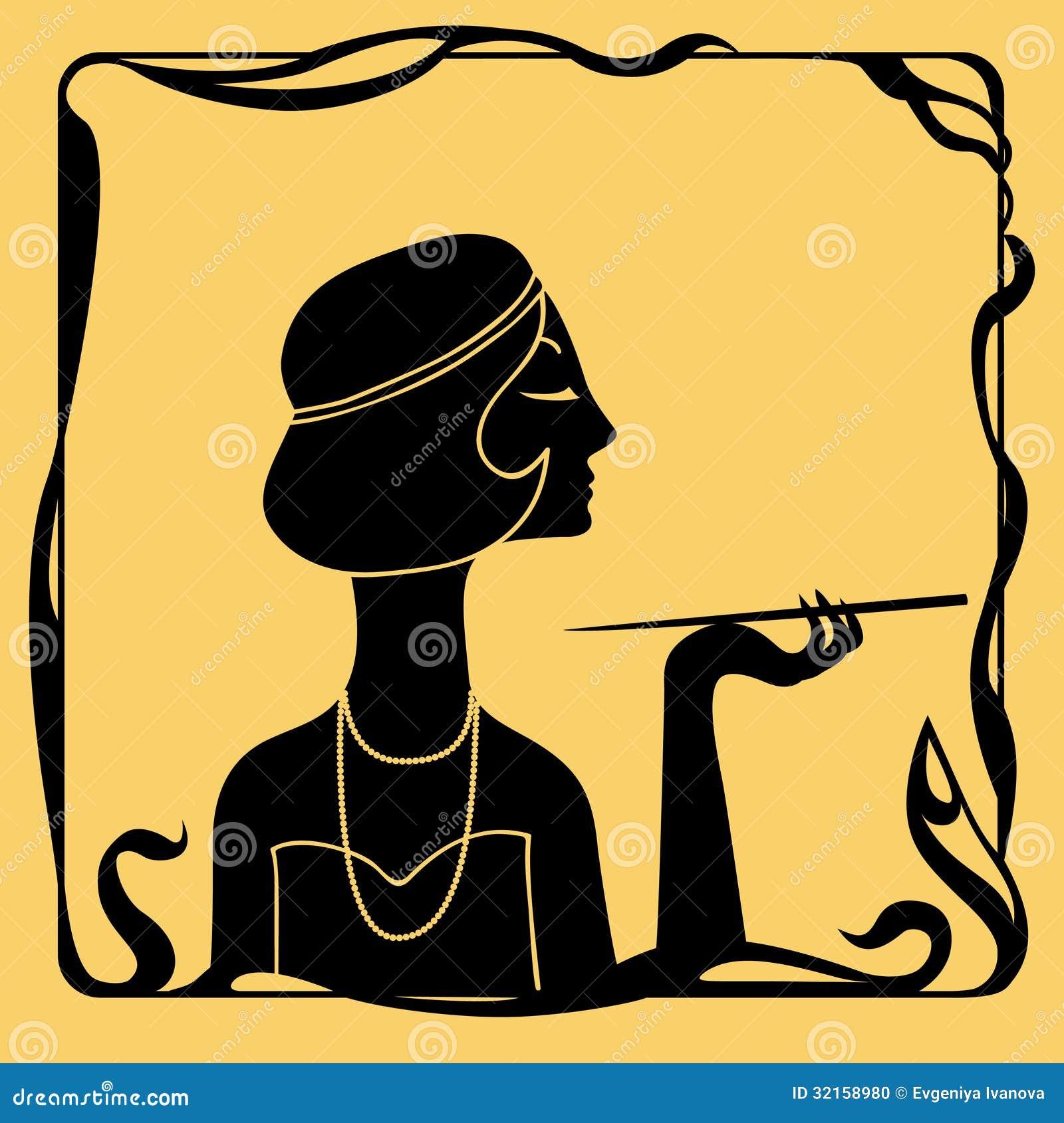 Art Deco Woman Profile Silhouette Stock Illustration - Illustration ...