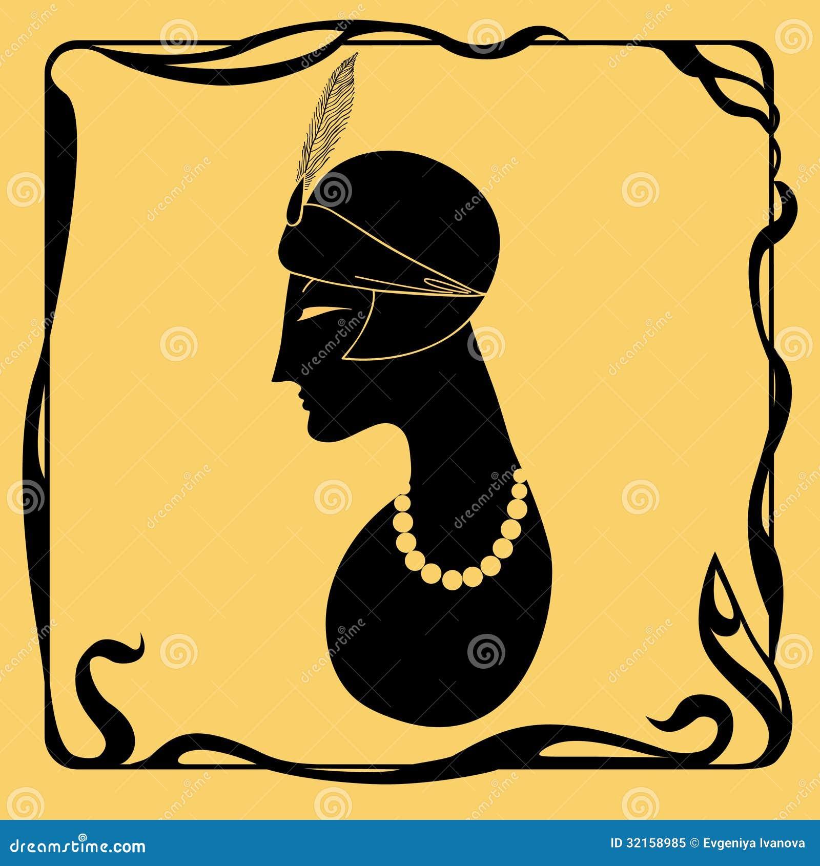 Art deco woman silhouette royalty free stock photo image 32158985