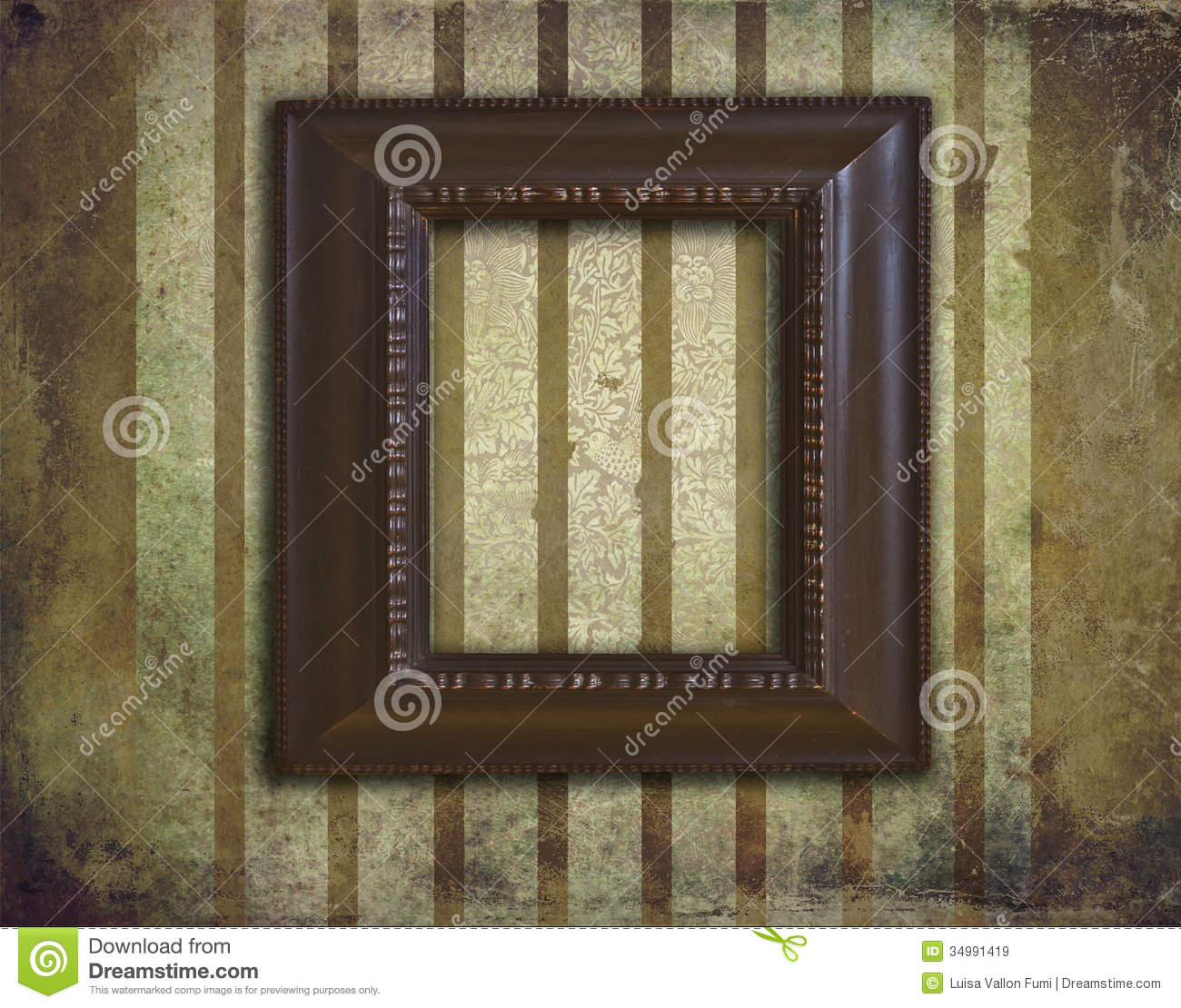 Art Deco Wooden Frame On Grunge And Faded Wallpaper Stock
