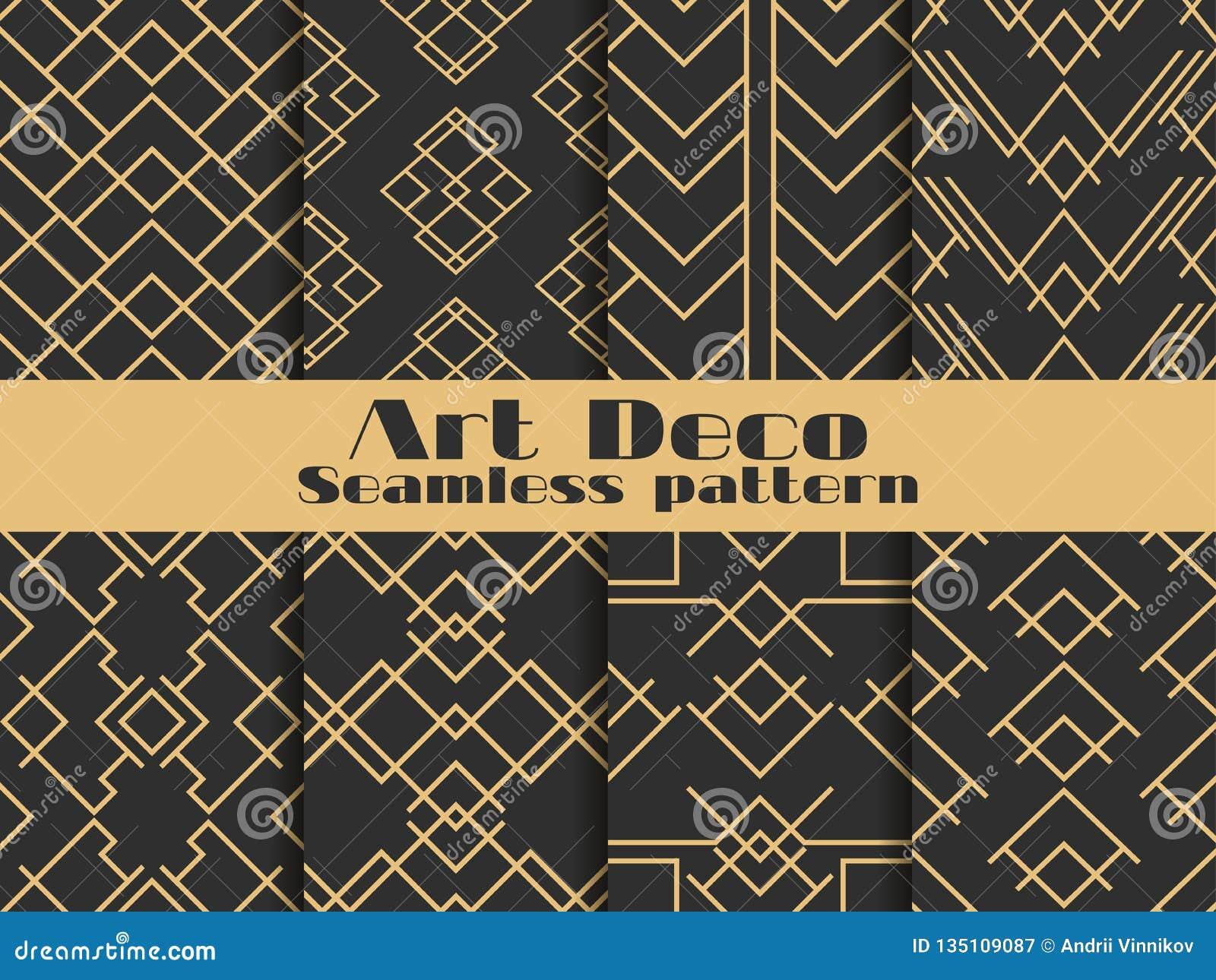 Art- Deconahtloses Muster Gesetzte Retro- Hintergründe, Gold und schwarze Farbe Reden Sie ` 1920 s, ` 1930 s an Linien und geomet