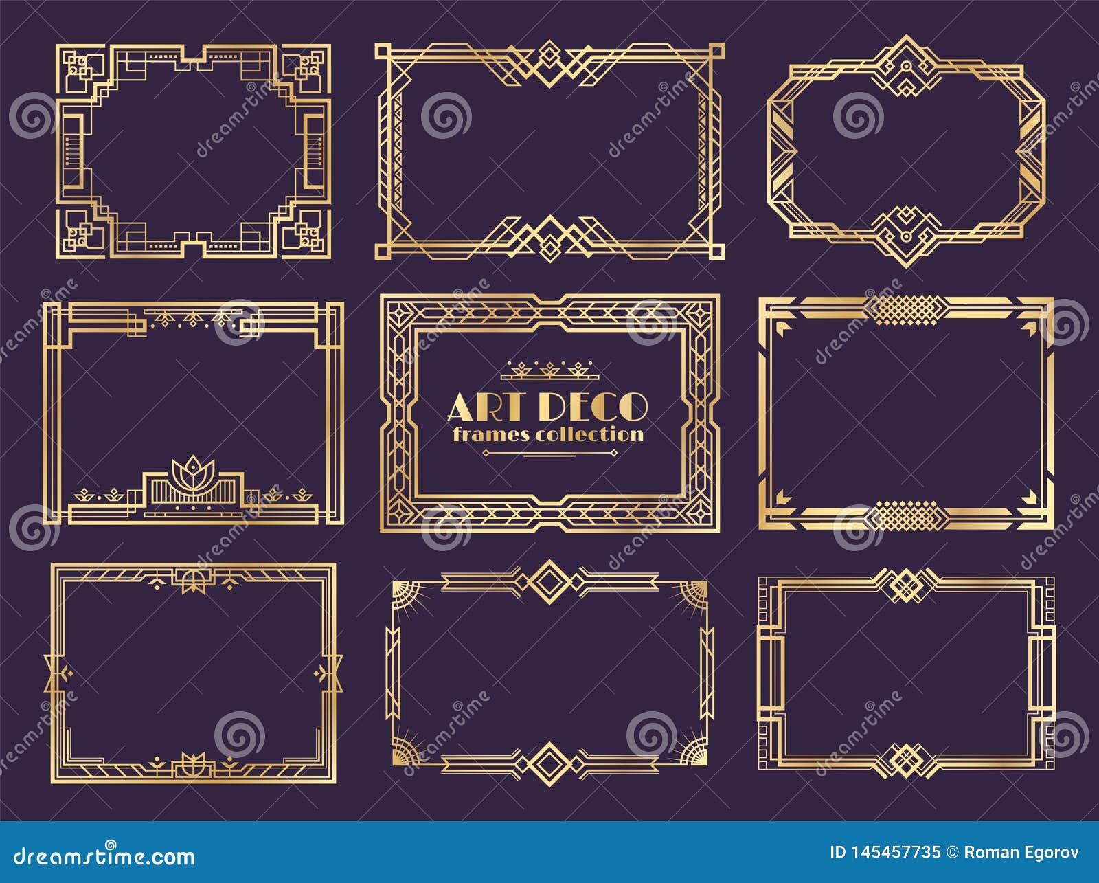Art DecoR?nder zwanziger Jahre goldene Rahmen, dekorative Elemente nouveau Fantasie f?r Weinleseplakate Vektorart- decoVerzierung