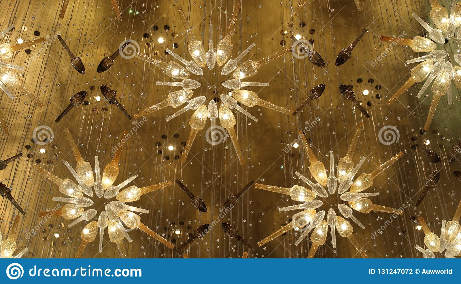 The Art Of Decorating With Chandeliers In The Mall. Stock ...