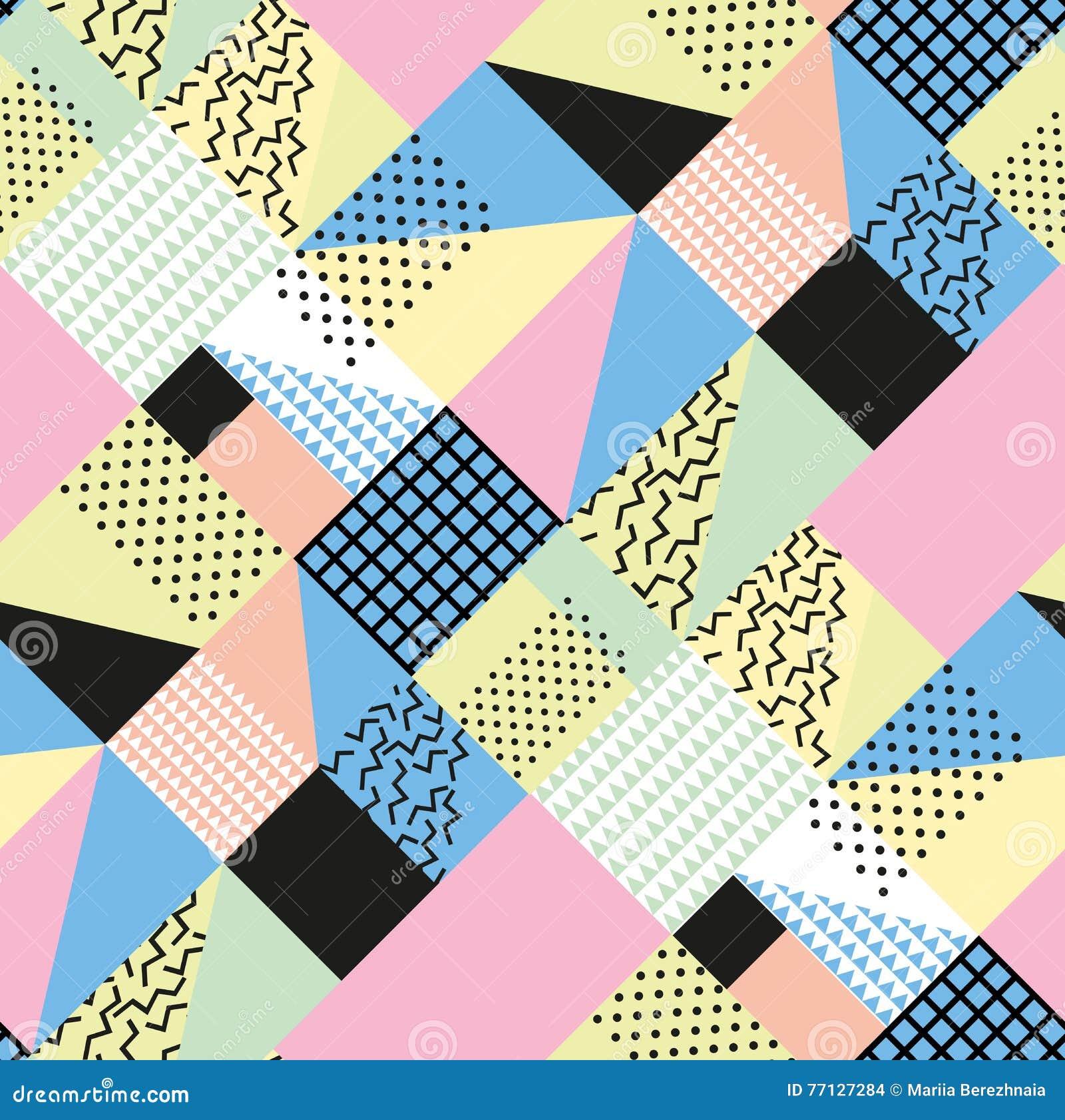 Art der Retro- Weinlesemode 80s oder 90s Nahtloses Muster Memphis Modische geometrische Elemente Moderne abstrakte Auslegung