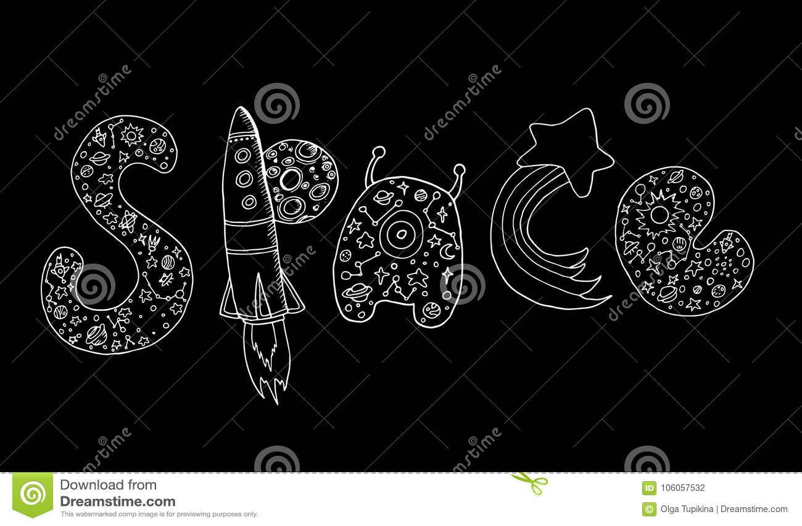 Art Design Decorative Word Space Doodle Sketch Style Stock