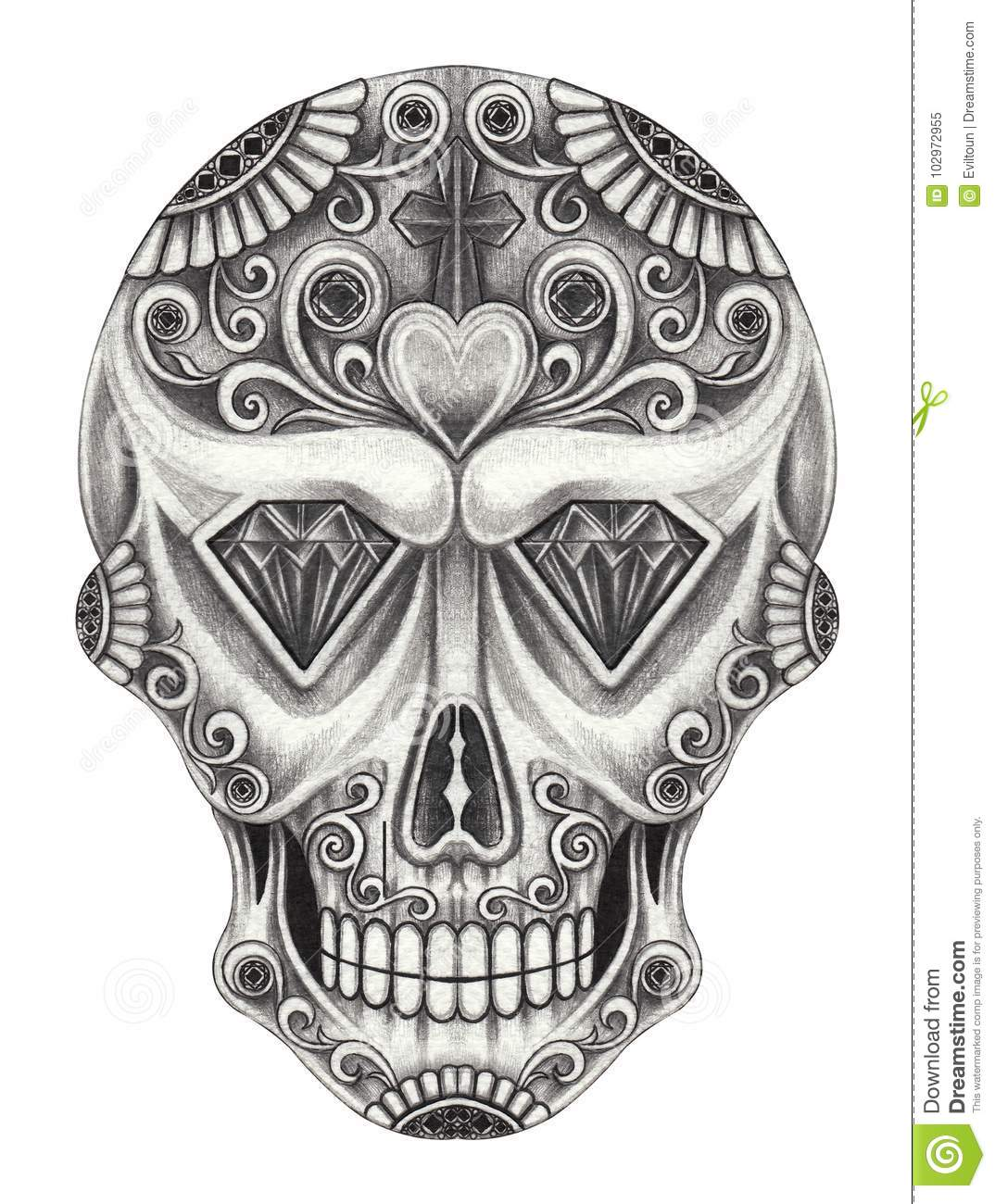 Art Sugar Skull Day Of The Dead Hand Pencil Drawing On Paper Stock Illustration Illustration Of Evil Fine 102972955