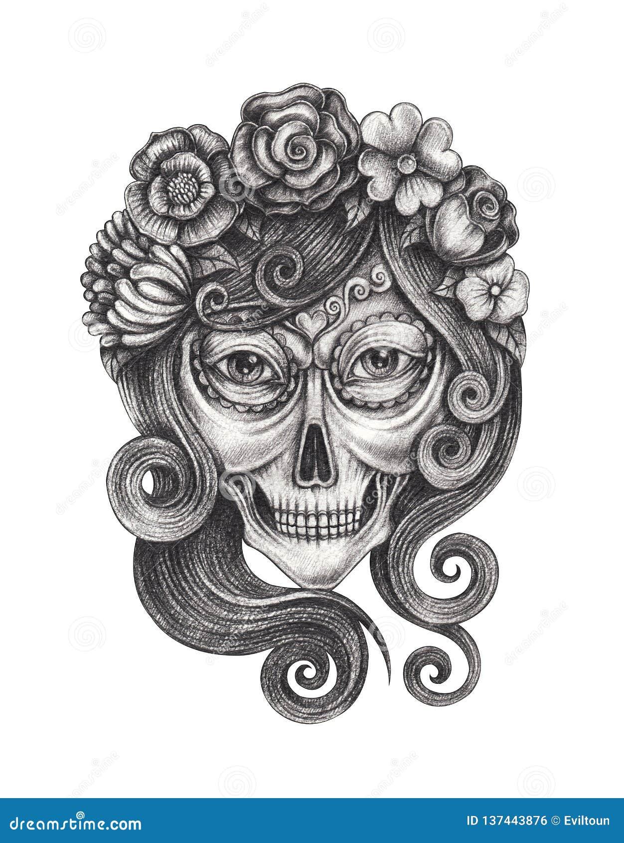 Calavera Tattoo Flash sugar skull day of the dead tattoo drawings - best tattoo ideas