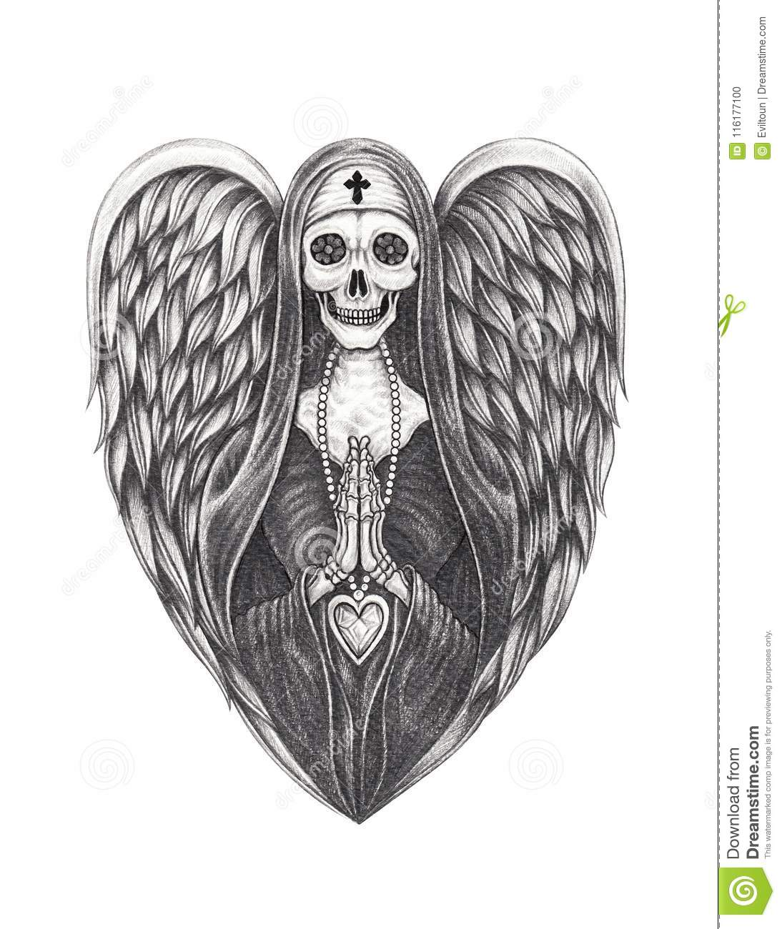 Art design surreal nun angle skull hand pencil drawing on paper