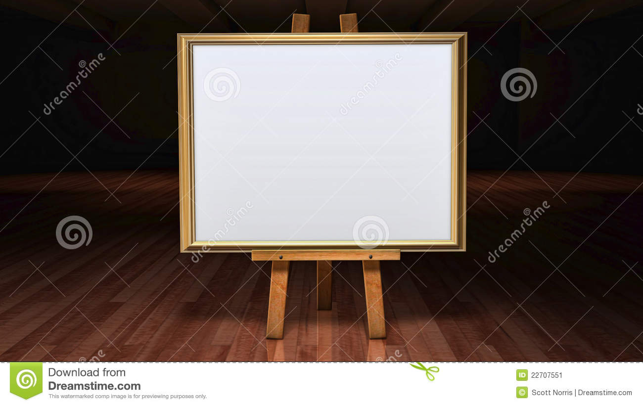 Art Easel With Blank Framed Canvas In A Darkened G Stock