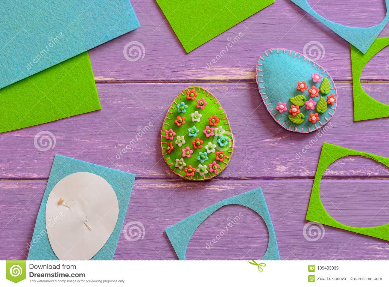 Art Easter Egg Ornaments With Plastic Flowers And Leaves Felt Eggs