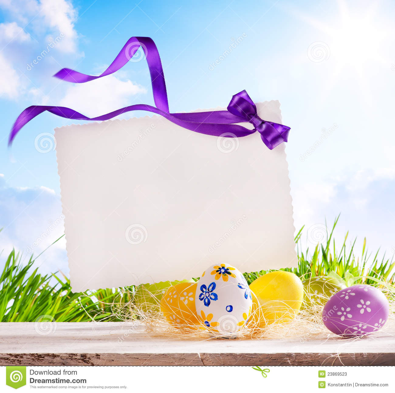 Art Easter Greeting Card With Easter Eggs Photo Image – Easter Greeting Cards
