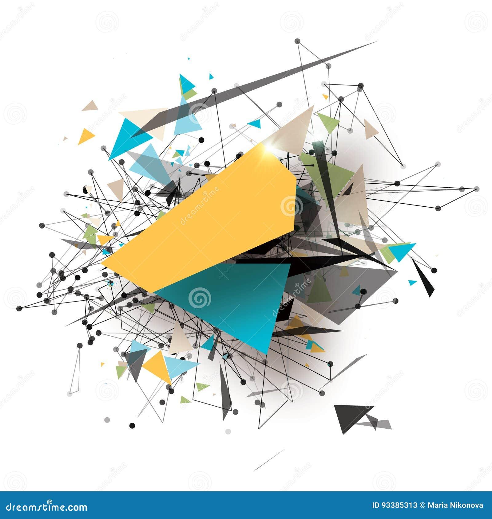 Art Elements poligonal geométrico colorido Explosión abstracta con los triángulos poligonales, rondas, líneas Tecnología futura